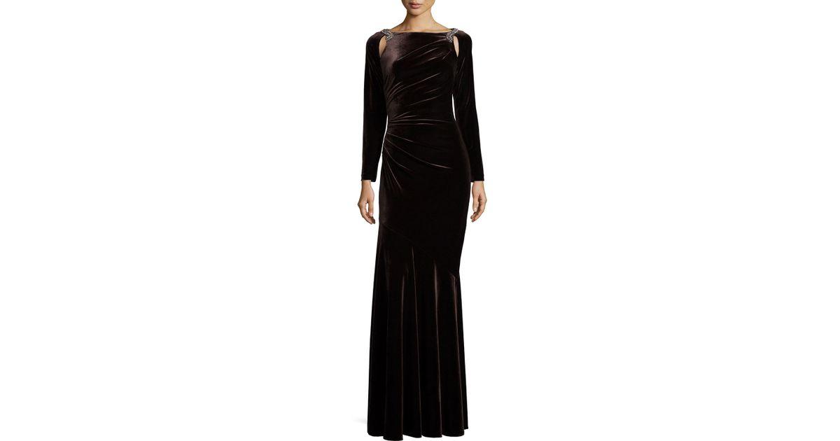 Lyst - Teri Jon Cut-Out Velvet Gown in Black