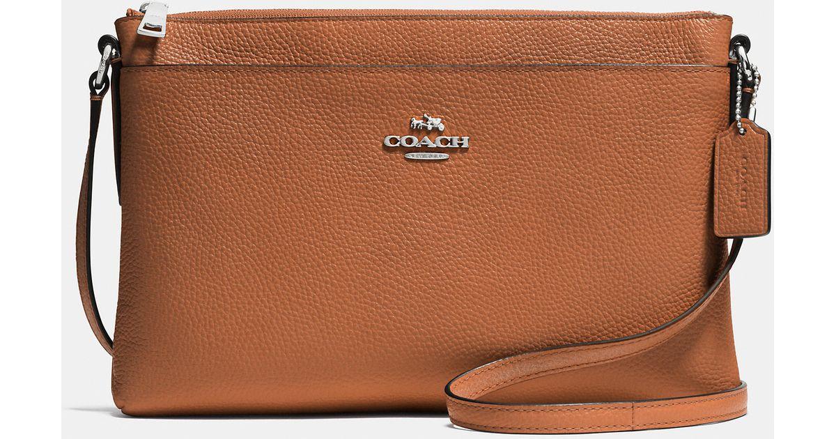 coach brown journal crossbody in pebble leather lyst rh lyst com