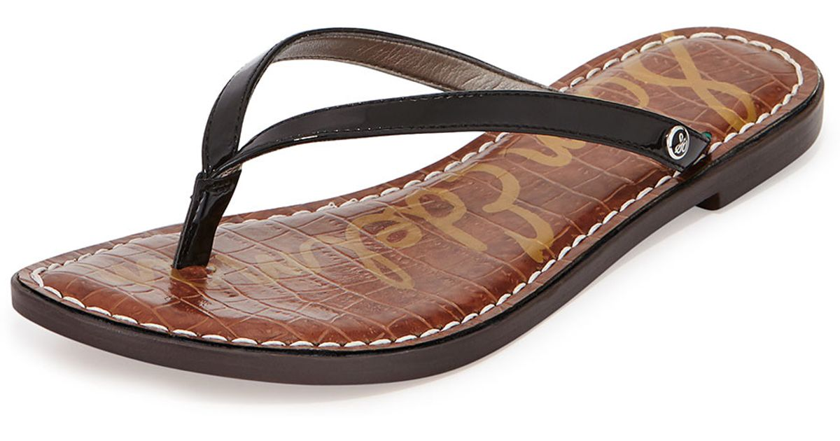 90b1d798d6a009 Lyst - Sam Edelman Gracie Patent Thong Sandal in Brown
