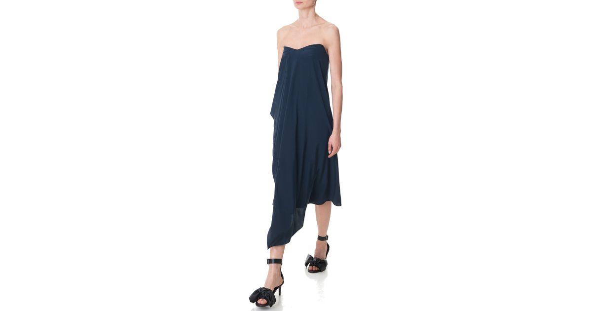 aaccb1c8842c Lyst - Tibi Silk Strapless Towel Dress in Blue