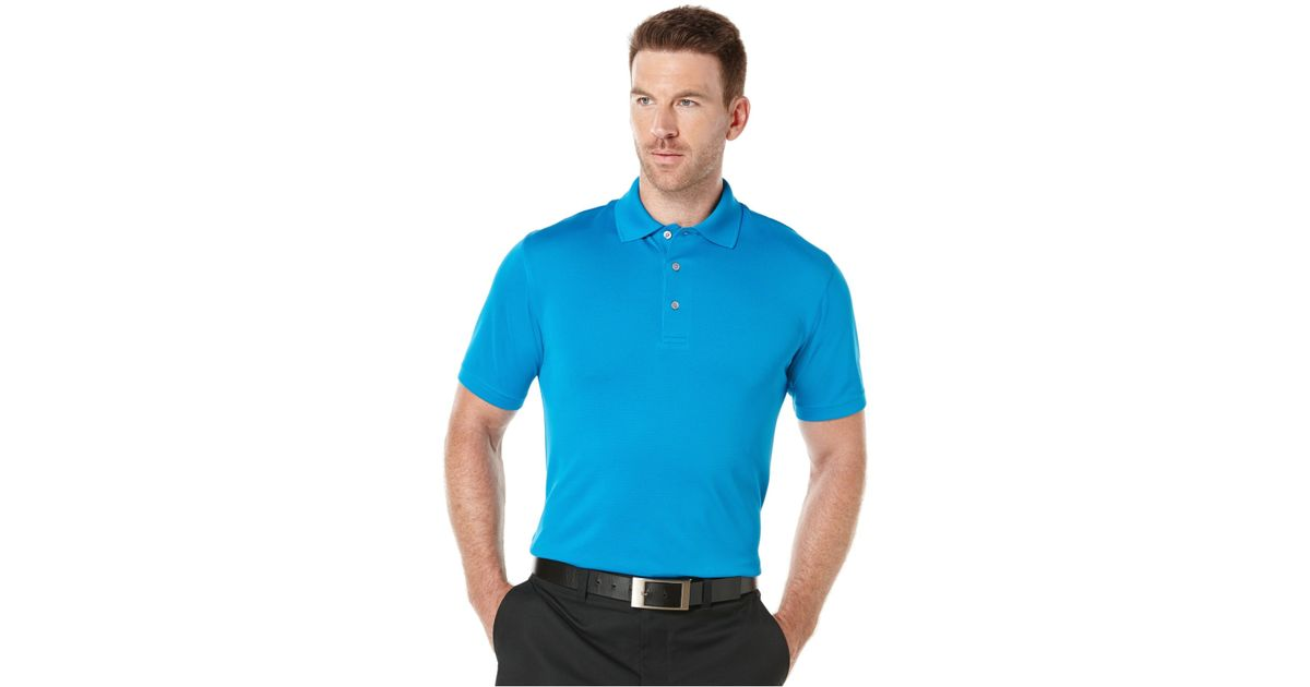 Pga tour men 39 s big tall airflux solid golf polo in blue for Large tall golf shirts