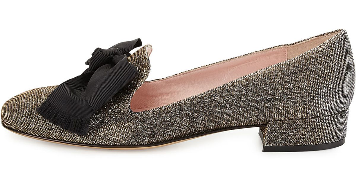 e75d4ad40e79 Kate Spade Gino Glitter-Embellished Loafers in Black - Lyst