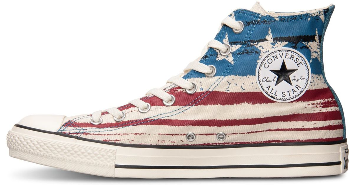 Lyst - Converse Men s Chuck Taylor High Usa Flag Print Casual Sneakers From  Finish Line in Red for Men c09ba4664