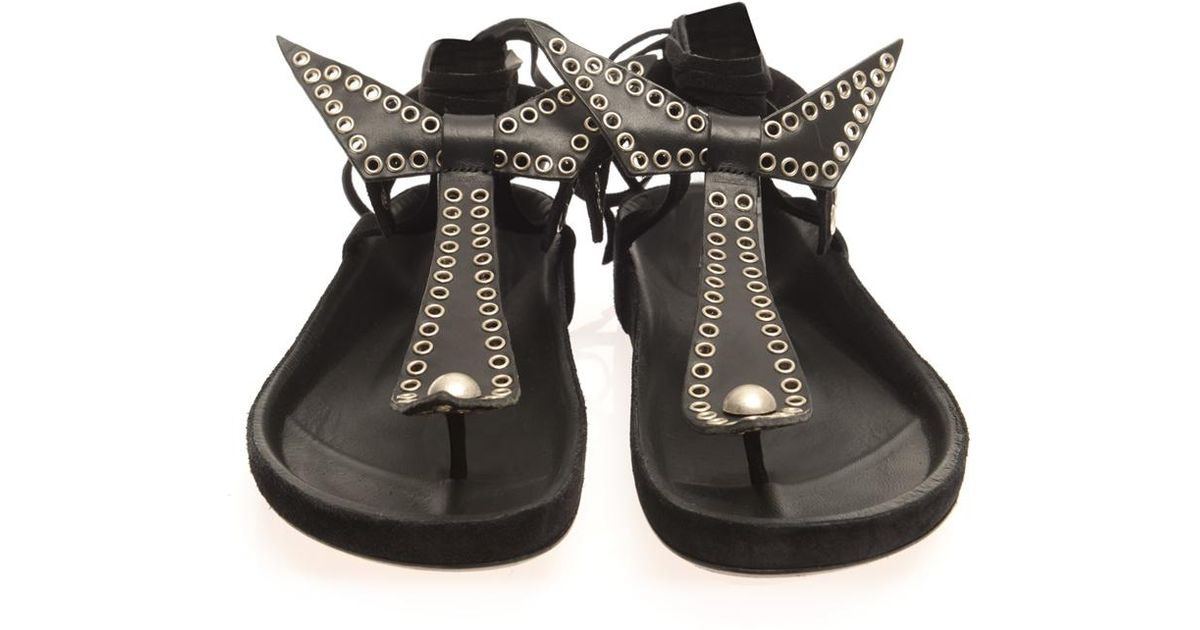 81ddb784a2 Isabel Marant Edris Studded Suede Sandals in Black - Lyst