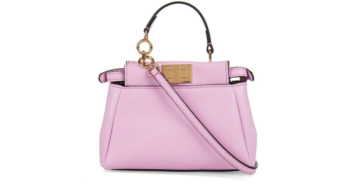 Lyst Fendi Micro Peekaboo Leather Cross Body Bag In Pink