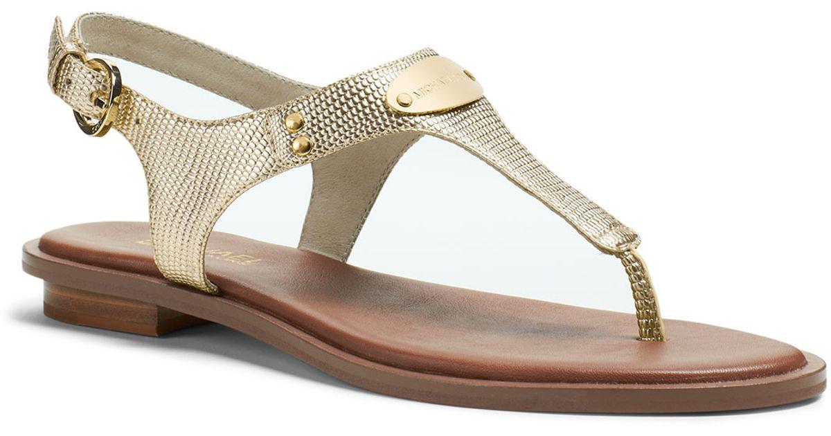 ff783cd1a25d Michael Kors Michael Plate Thong Sandal in Metallic - Lyst