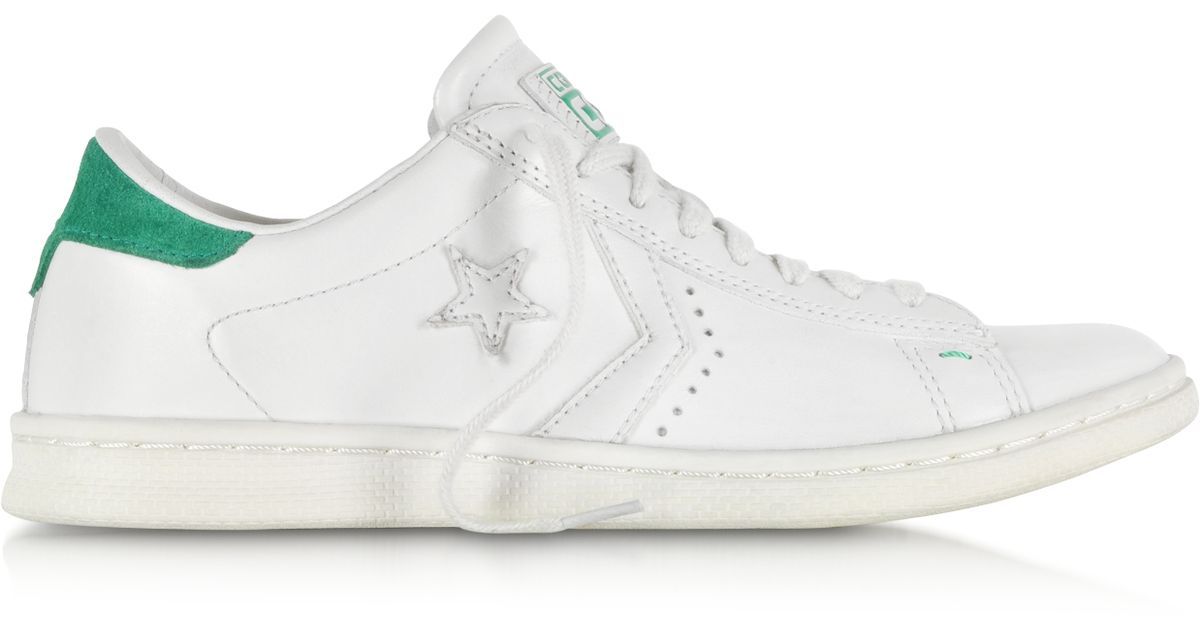 3804107eb7d901 Lyst - Converse Cons Pro Leather Lp Ox White Dust And Green Sneaker in White  for Men