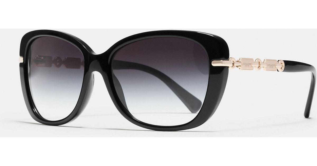 8c3552ed0c ... cheap lyst coach hangtag chain cat eye sunglasses in black a0903 c7f43