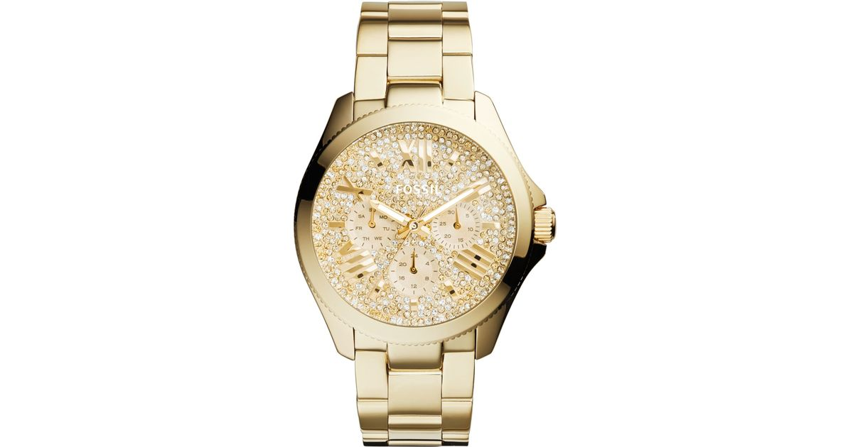 Lyst Fossil Women S Cecile Gold Tone Stainless Steel Bracelet Watch 40Mm Am4603 in Metallic