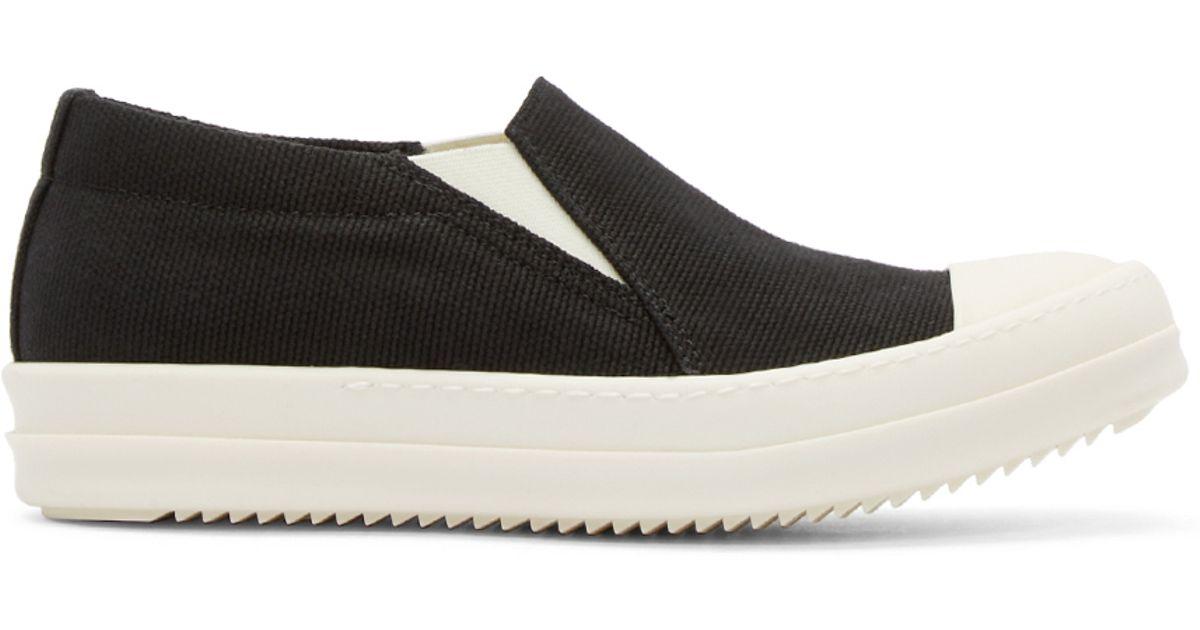 Lyst - DRKSHDW by Rick Owens Black Canvas Boat Slip-on Sneakers in Black 03af8c2e93c8