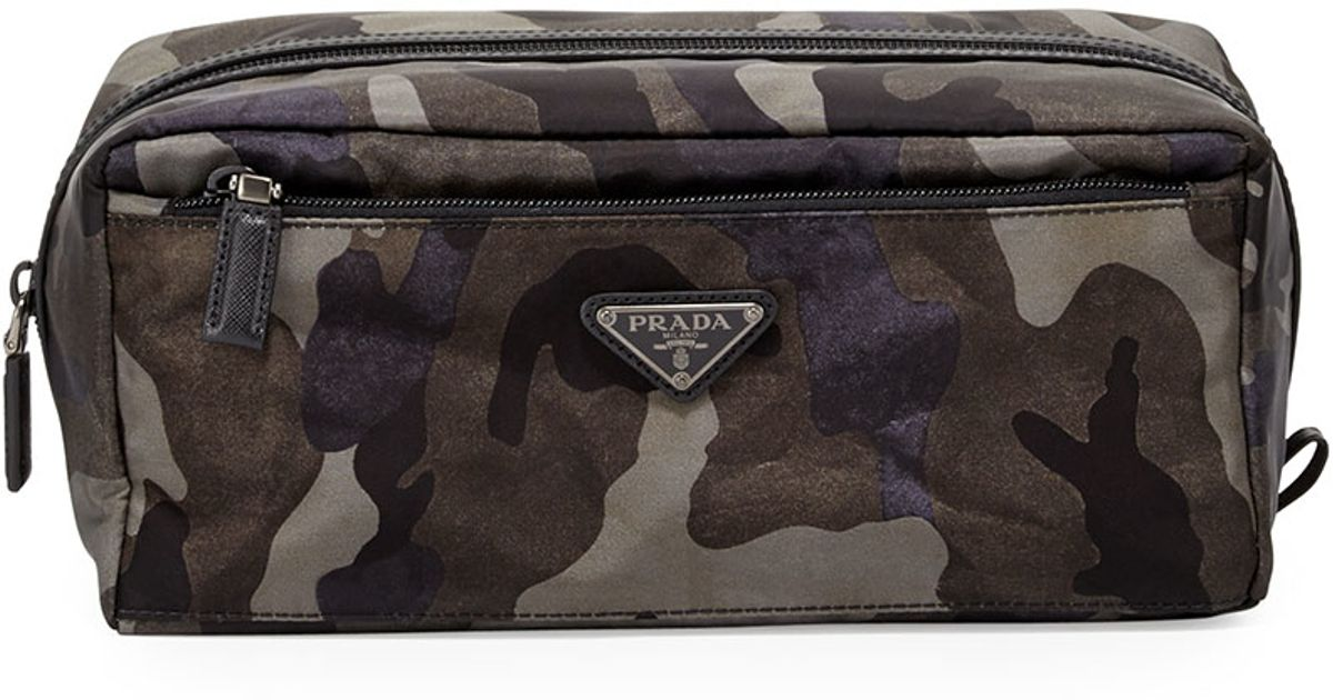 Prada Camouflage Nylon Toiletry Kit in Gray for Men (GREY CAMO) | Lyst
