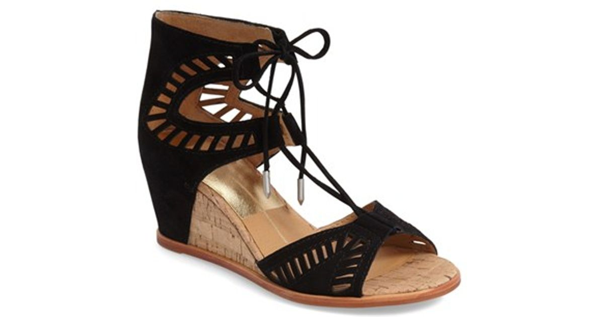 96d636db133 Lyst Dolce Vita Linsey Lace Up Wedge Sandal In Black