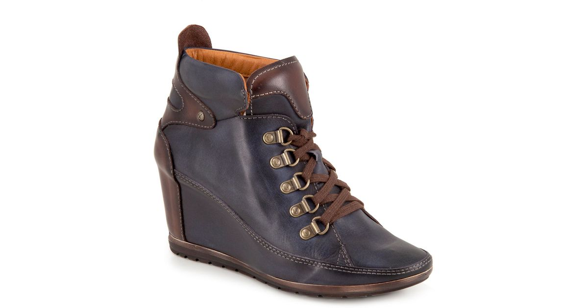 c4f49c03ce9 Lyst - Pikolinos Amsterdam Leather Wedge Boots in Blue