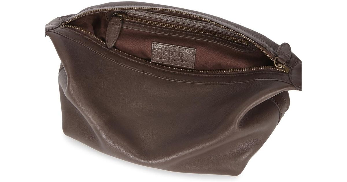 f54713939e80 Polo Ralph Lauren Brown Leather Wash Bag in Brown for Men - Lyst