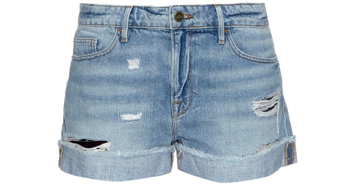 e71a06345b FRAME Le Grand Garcon Shorts in Blue - Lyst