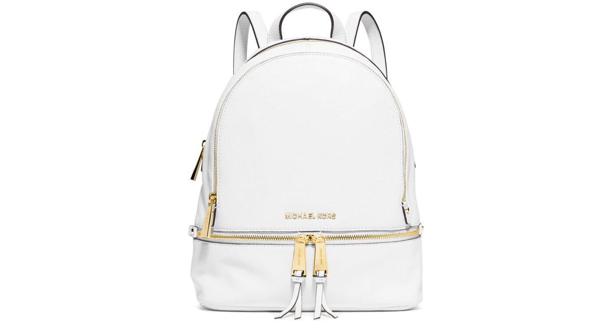 Michael michael kors Rhea Zip Mini Backpack in White | Lyst