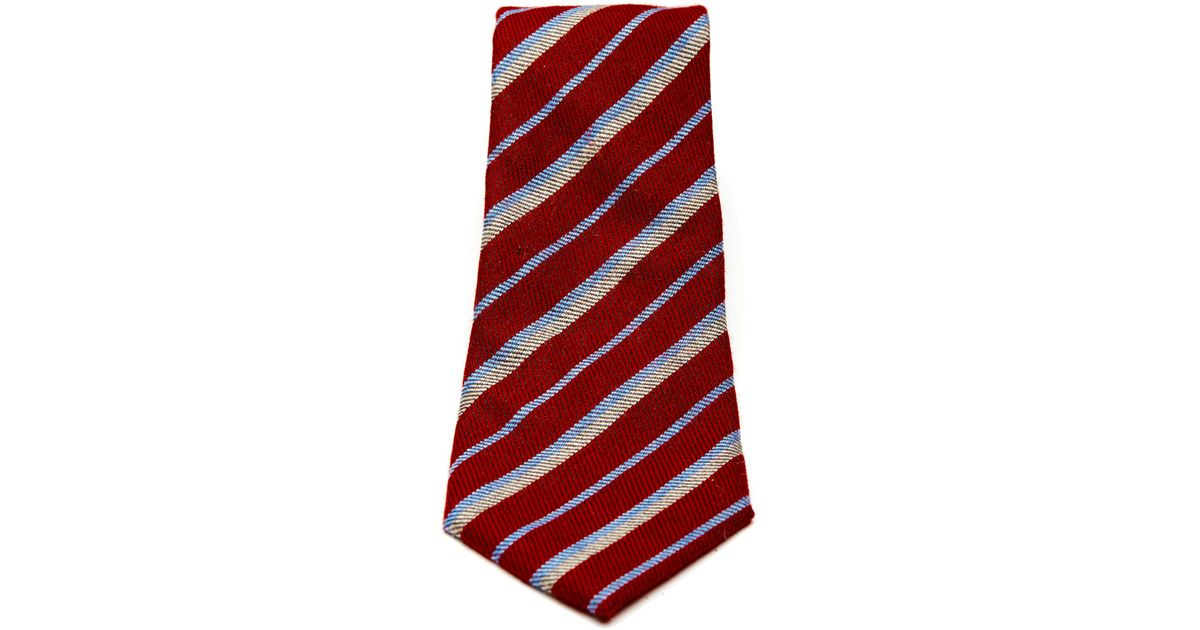 13893414eecb Turnbull & Asser Slim Narrow Stripe Tie In Red, Blue And Grey in Red for  Men - Lyst