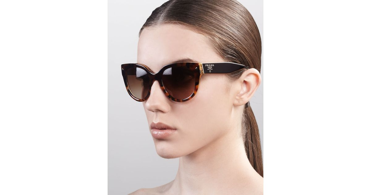 51728394d8880 Prada Heritage Cat-Eye Sunglasses in Black - Lyst