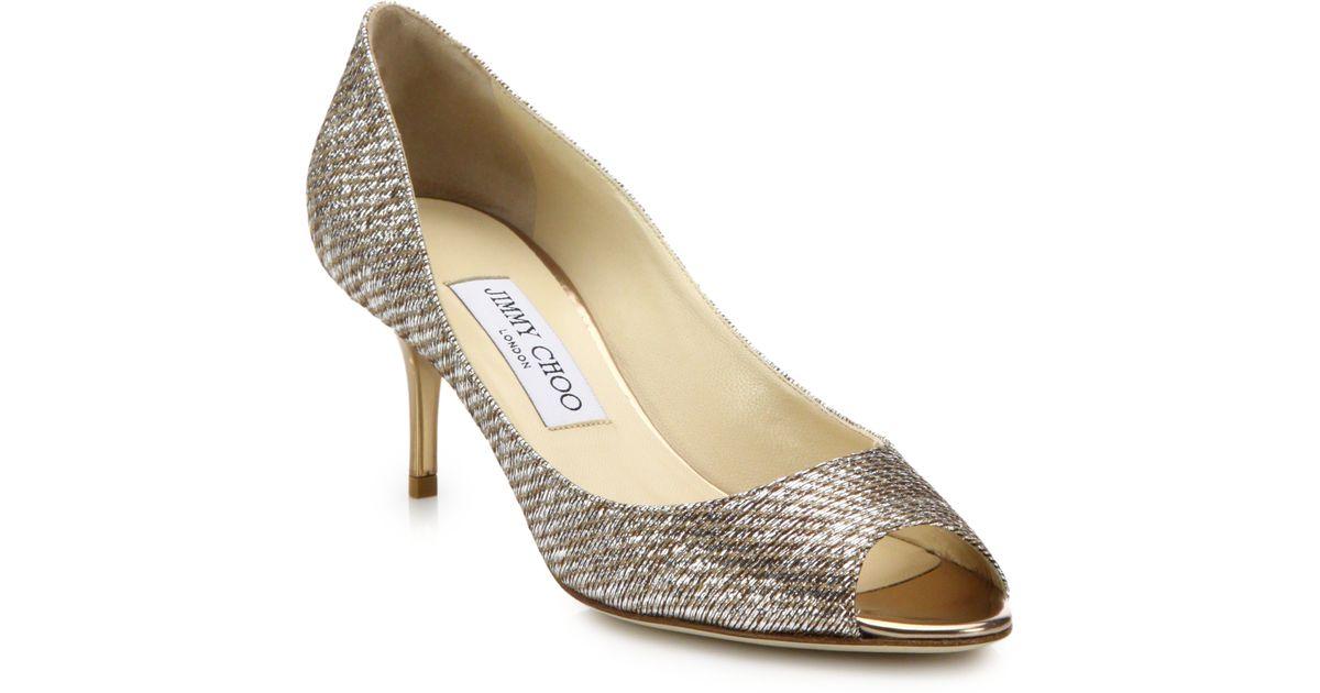 lyst jimmy choo isabel 65 lam mid heel peep toe pumps in metallic rh lyst com