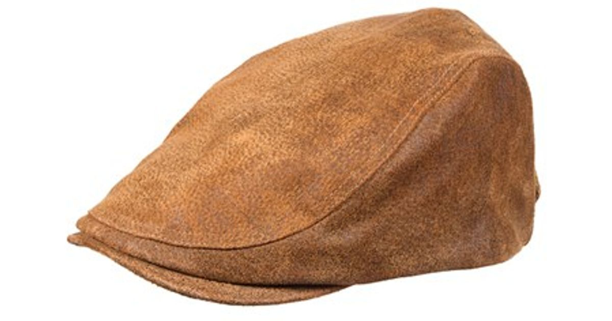 3fcbae49a382a3 Lyst - Stetson Leather Driving Cap - Metallic in Brown for Men