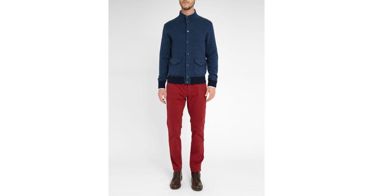 Hackett Navy Wool Buttoned Jacket In Blue For Men Lyst