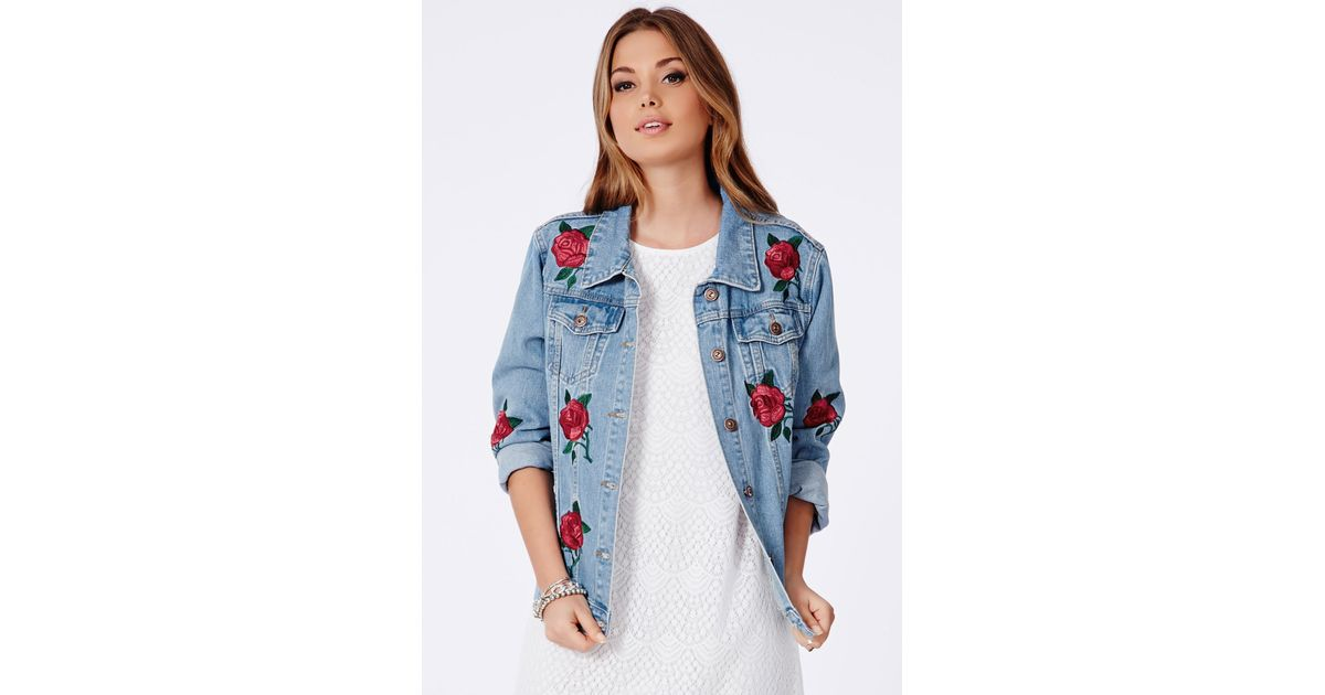 Lyst Missguided Caresa Rose Embroidered Denim Jacket In Blue