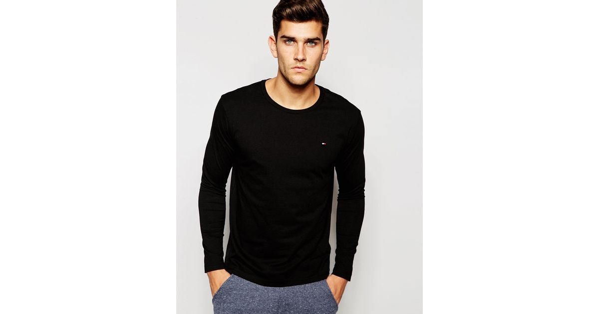 3c7153c03985c Lyst - Tommy Hilfiger Flag Long Sleeve Top In Organic Cotton In Regular Fit  in Black for Men