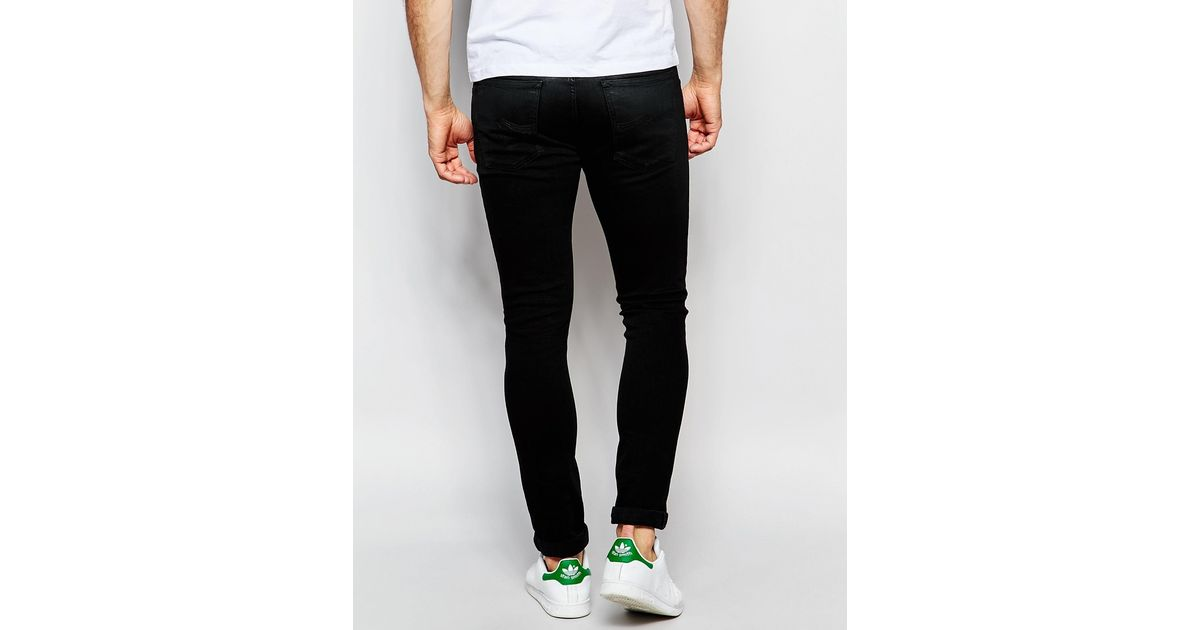 f4bc3422c686 Lyst - Nudie Jeans Skinny Lin Stretch Super Skinny Fit Shiny Black Coated  Top in Black for Men