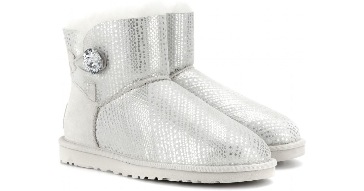 UGG Mini Bailey Button Bling Shearlinglined Boots in Metallic - Lyst bf12a5128b