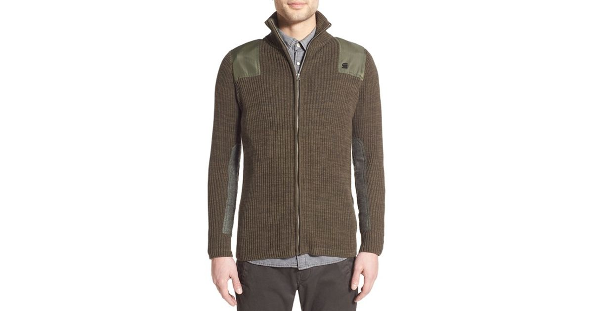 g star raw 39 effo 39 rib zip sweater in green for men lyst. Black Bedroom Furniture Sets. Home Design Ideas