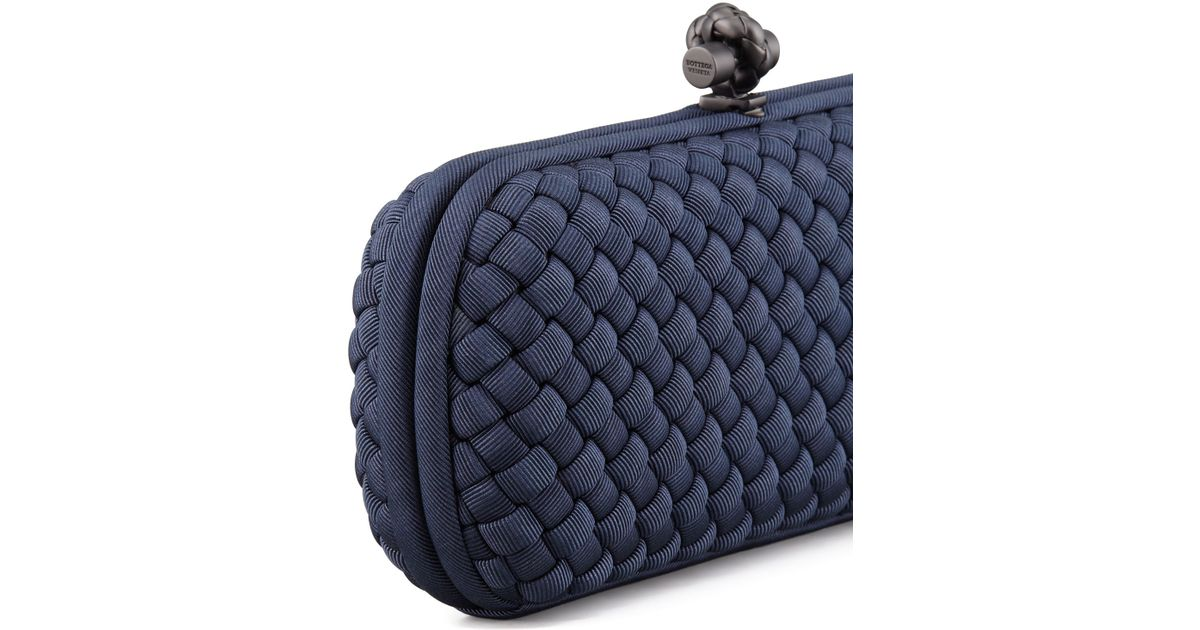 3fa660d49c Lyst - Bottega Veneta Woven Faille Large Knot Clutch Bag in Blue