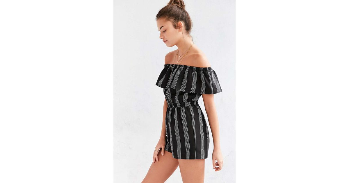 52206e8d1dd9ed Lucca Couture Striped Off-the-shoulder Romper in Black - Lyst