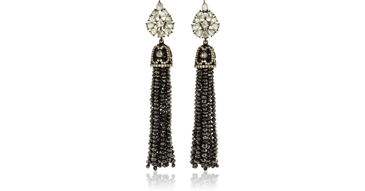 Sutra Black Diamond Bead Chandelier Earrings in Black – Black Diamond Chandelier Earrings