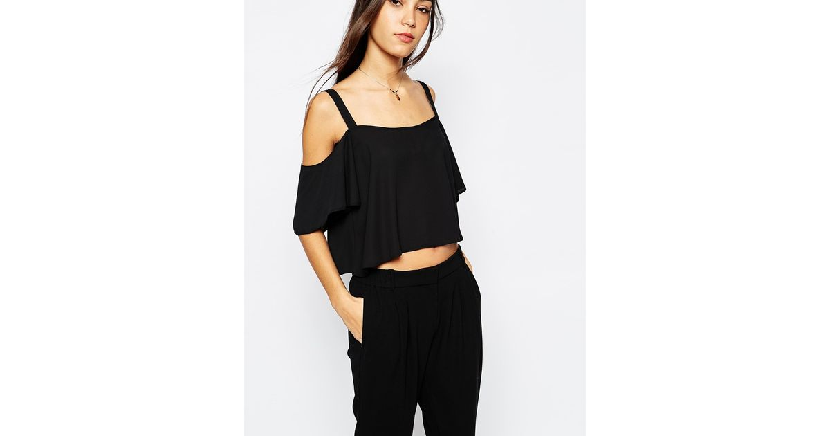be6666c3d00bda Lyst - Never Fully Dressed Cold Shoulder Top With Frill Sleeve in Black