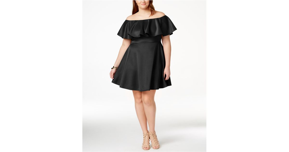 Lyst Soprano Plus Size Ruffled Off The Shoulder Dress In Black