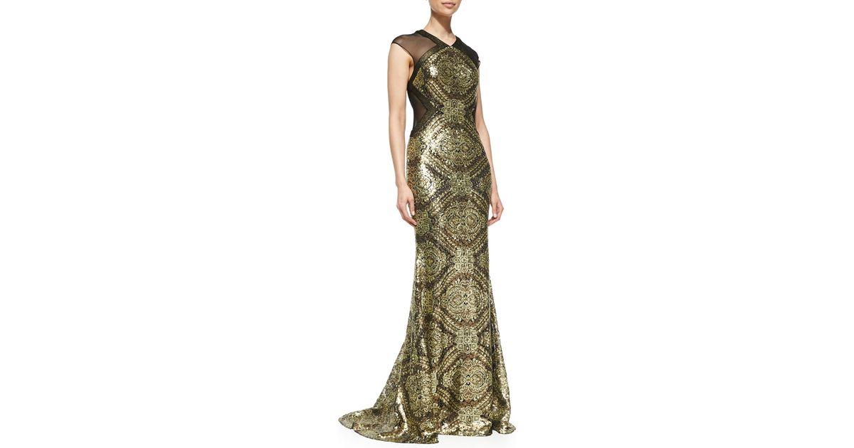 Lyst - Badgley Mischka Sequined Baroque Gown in Metallic