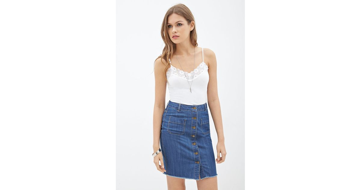 Forever 21 Contemporary Button-down Denim Skirt in Blue | Lyst