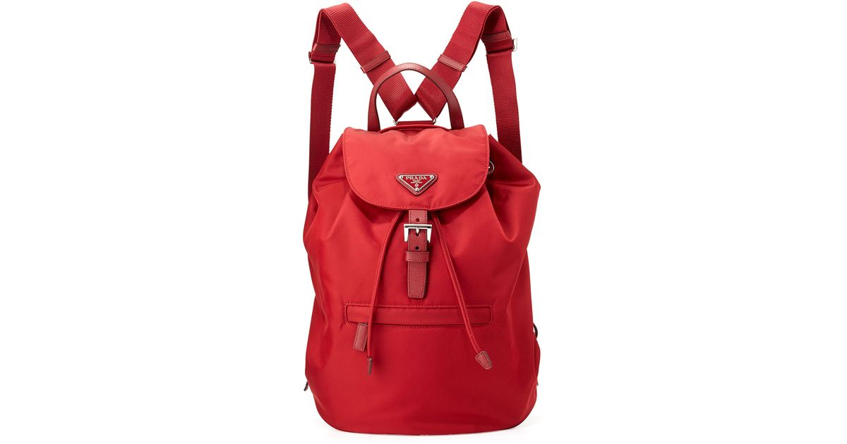 45c4ffe090a0 ... discount lyst prada vela large drawstring backpack in red 08a96 1adc7  ...