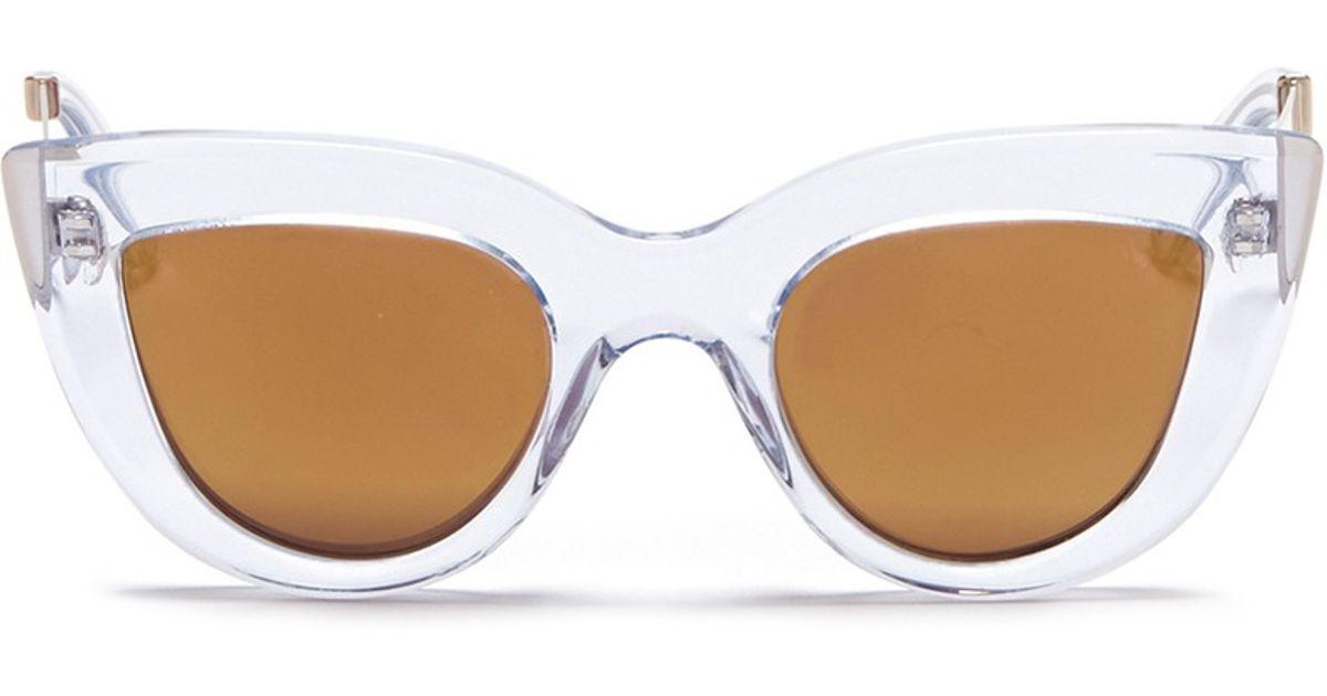 9a1570e93c Lyst - Ellery X Graz  quixote  Acetate Cat Eye Mirror Sunglasses in Natural