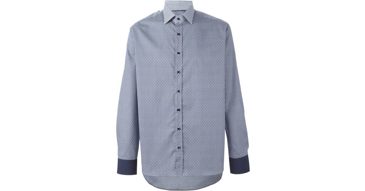 etro contrast collar and cuffs shirt in blue for men lyst