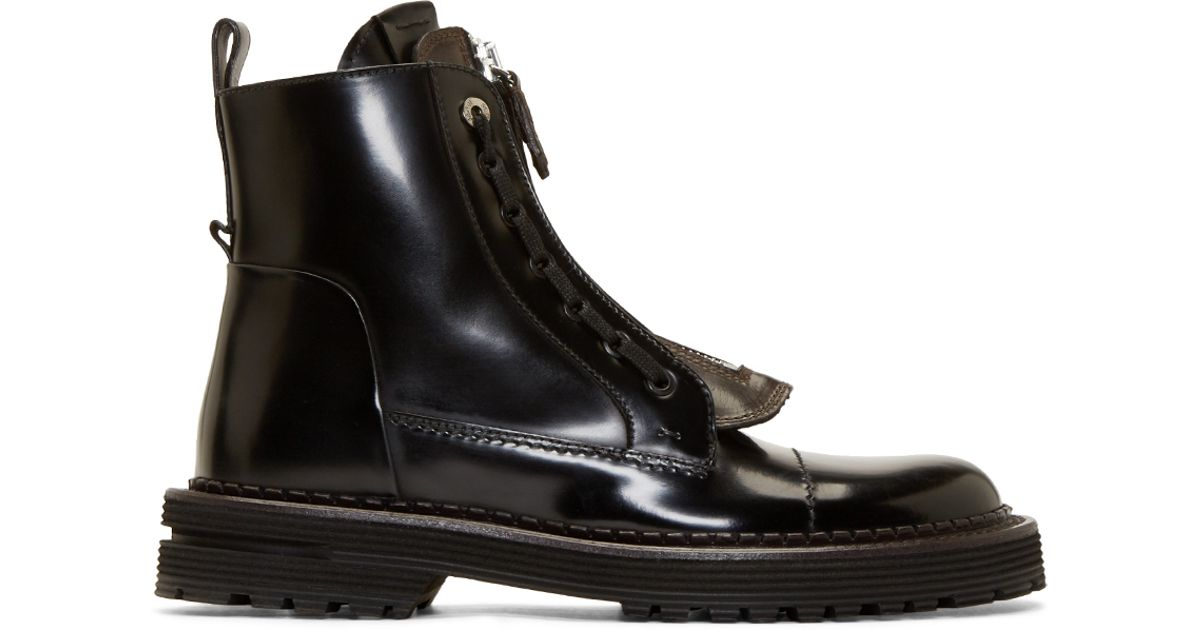 Fendi Black Leather Selleria Boots in Black for Men - Lyst c45fd62766dc