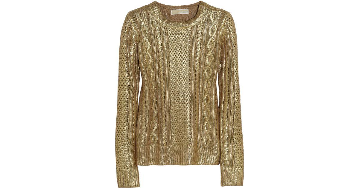 0afc23c7a MICHAEL Michael Kors Metallic Coated Cotton-blend Sweater in Metallic - Lyst