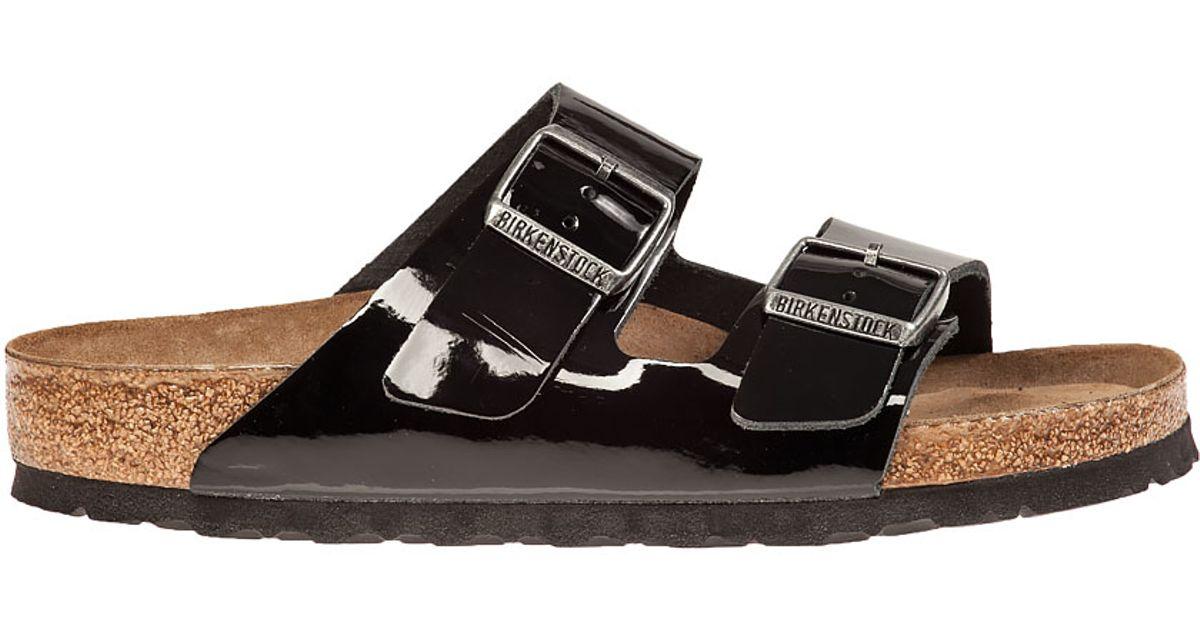 Lyst - Birkenstock Arizona Sandal Black Patent in Black 588fdfcb8