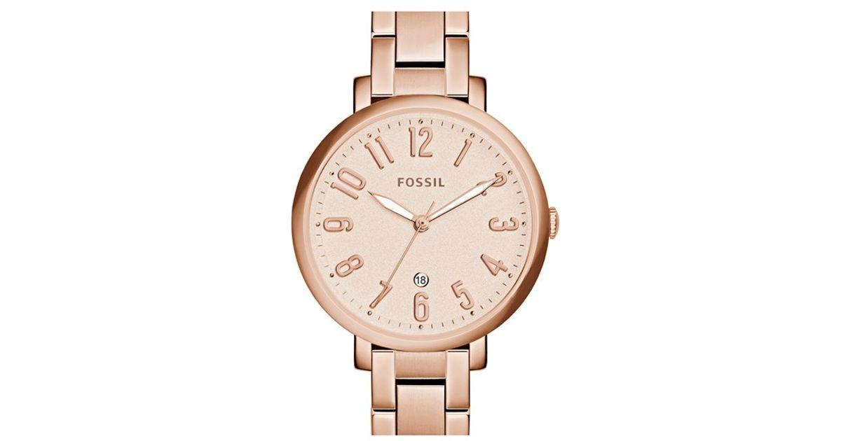 fossil 39 jacqueline 39 bracelet watch in pink lyst. Black Bedroom Furniture Sets. Home Design Ideas