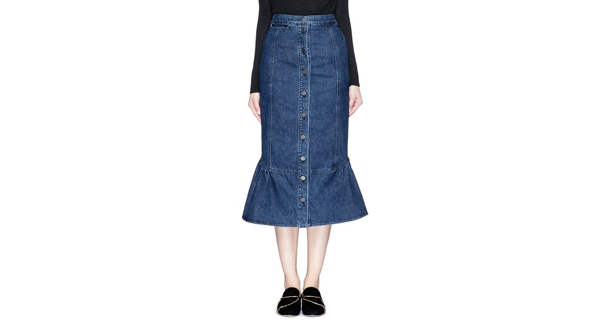 comey range flare fishtail hem denim skirt in