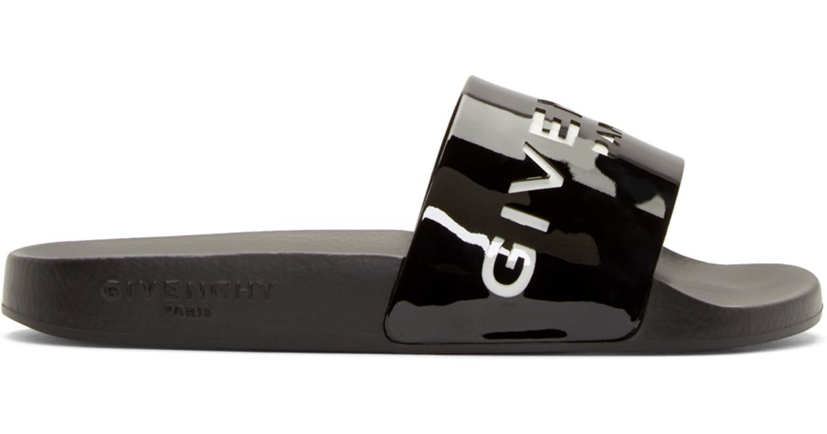c6fa63334dd9 Lyst - Givenchy Black Patent Cut-out Slide Sandals in Black