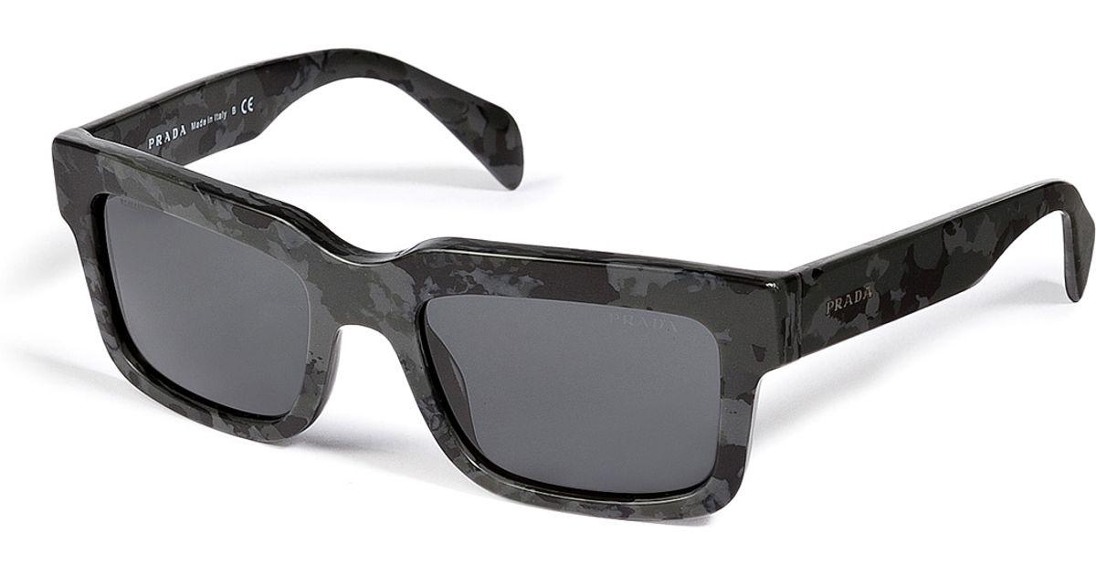 Lyst - Prada Square Frame Camouflage Sunglasses in Green for Men