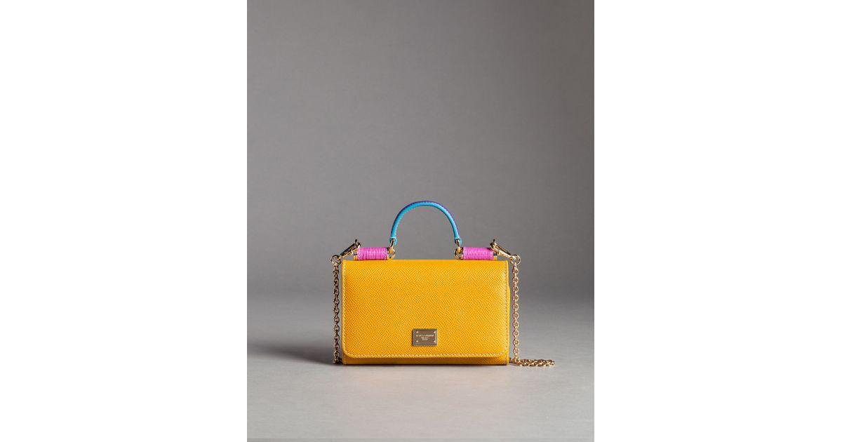 5d94612c33 Dolce   Gabbana Von Mix Bag In Leather in Yellow - Lyst