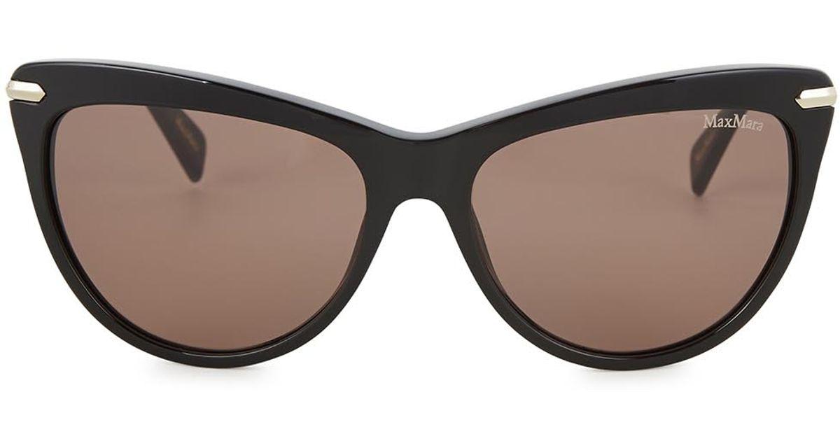 b40649b46b64 Max Mara Edgy Black Cat Eye Sunglasses in Black - Lyst