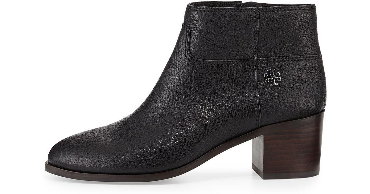fd9e9340b14 Lyst - Tory Burch Fulton Leather Zip Bootie in Black